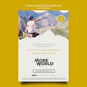 Modelo de folheto para cidades e lugares que viajam