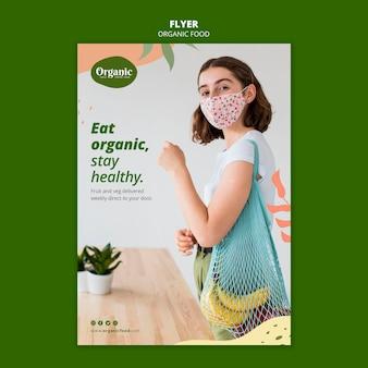 Modelo de folheto para comer vegetais orgânicos