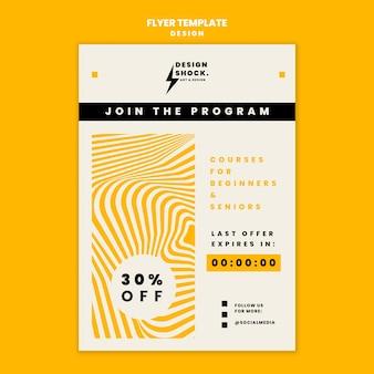 Modelo de folheto para cursos de design gráfico