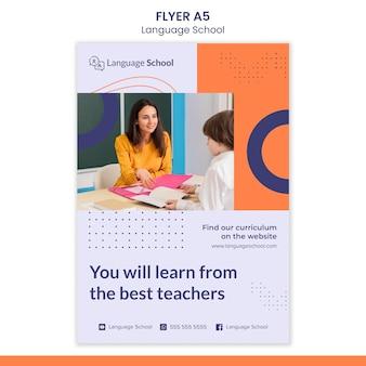 Modelo de folheto para escola de idiomas