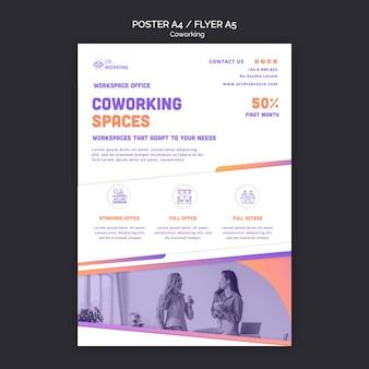 Modelo de folheto para espaço de coworking