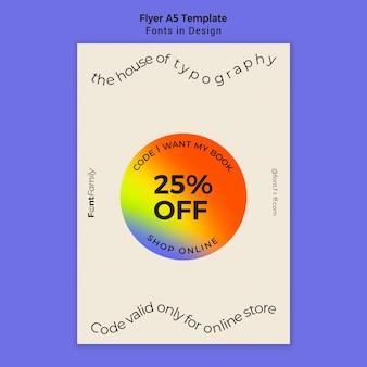 Modelo de folheto para fontes e design