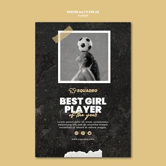 Modelo de folheto para jogador de futebol feminino