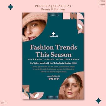 Modelo de folheto para moda e beleza feminina