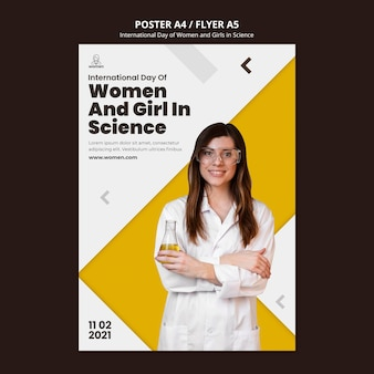 Modelo de folheto para mulheres e meninas internacionais no dia da ciência