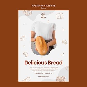 Modelo de folheto para padaria de pão