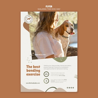 Modelo de folheto para passear com o cachorro