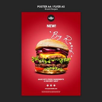 Modelo de folheto para restaurante de hambúrguer