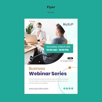 Modelo de folheto para webinar e início de negócios