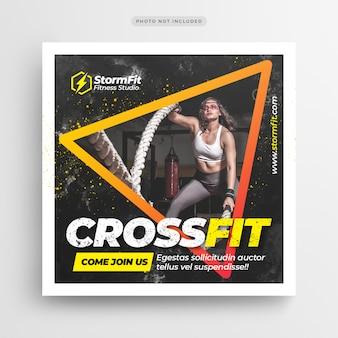 Modelo de folheto - post de mídia social de ginásio de fitness ou quadrado
