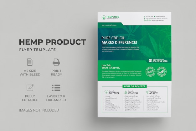 Modelo de folheto - produto de cânhamo | cbd oil flyer