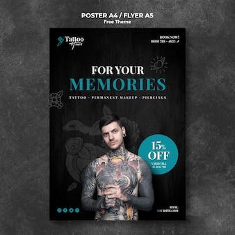 Modelo de folheto profissional estúdio de tatuagem