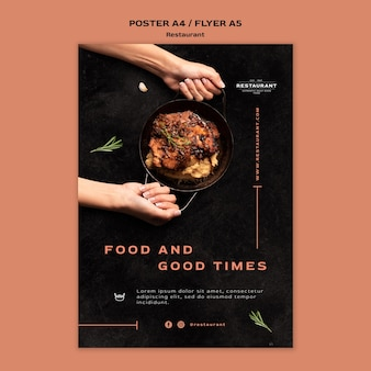 Modelo de folheto promocional de restaurante