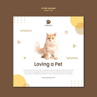 Modelo de folheto quadrado - adoção de animais