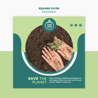 Modelo de folheto quadrado ambiente
