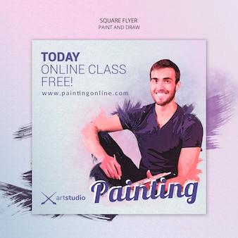 Modelo de folheto quadrado - aulas on-line de pintura