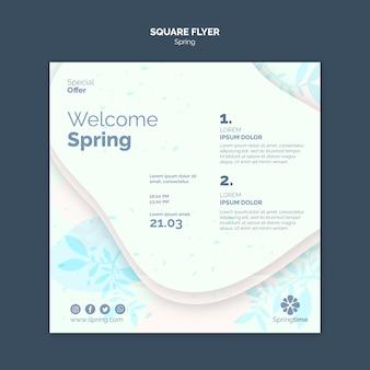 Modelo de folheto quadrado bem-vindo primavera