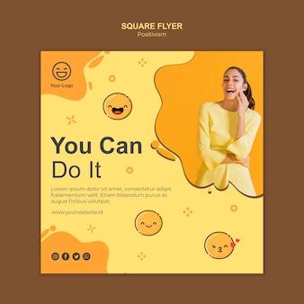 Modelo de folheto quadrado com você pode fazê-lo