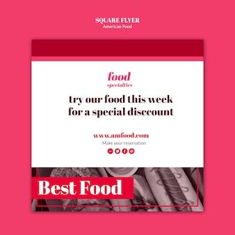 Modelo de folheto quadrado comida americana