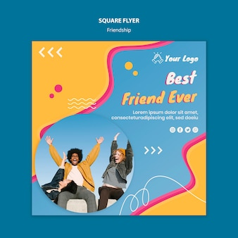 Modelo de folheto quadrado conceito amizade