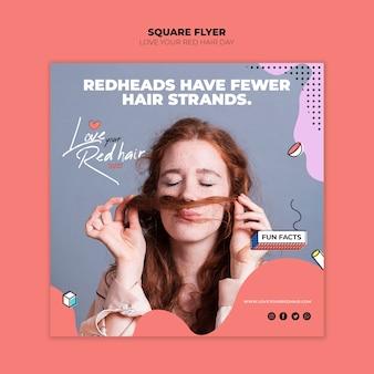 Modelo de folheto quadrado - conceito de dia de cabelo vermelho