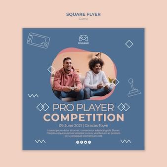 Modelo de folheto quadrado conceito de jogos