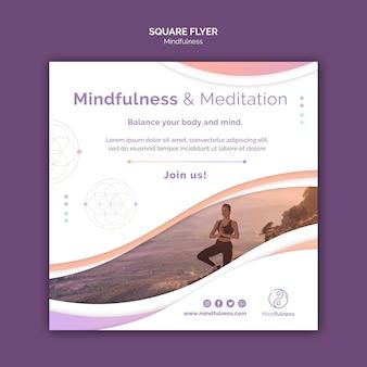 Modelo de folheto quadrado conceito de mindfulness