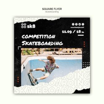 Modelo de folheto quadrado conceito de skate