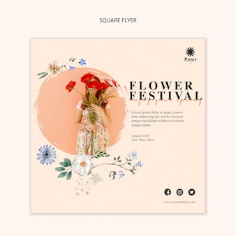 Modelo de folheto quadrado conceito festival de flores
