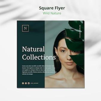 Modelo de folheto quadrado conceito selvagem natureza