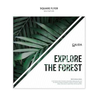 Modelo de folheto quadrado criativo natureza selvagem