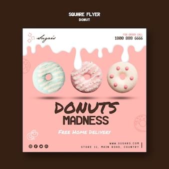 Modelo de folheto quadrado da loucura de donuts