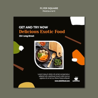 Modelo de folheto quadrado de comida exótica