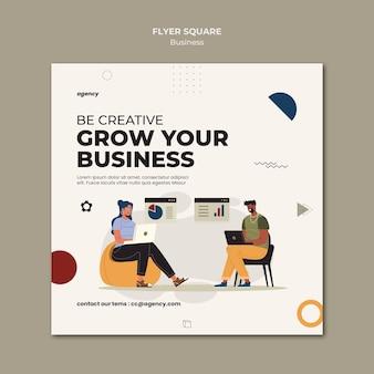 Modelo de folheto quadrado de crescimento de negócios