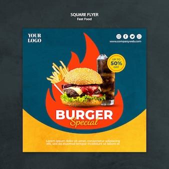Modelo de folheto quadrado de fast food