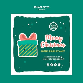 Modelo de folheto quadrado de feliz natal