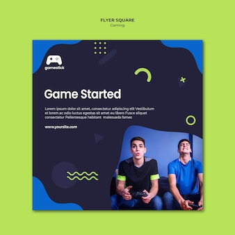 Modelo de folheto quadrado de videogame