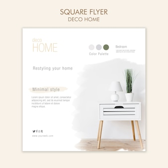 Modelo de folheto quadrado deco casa conceito