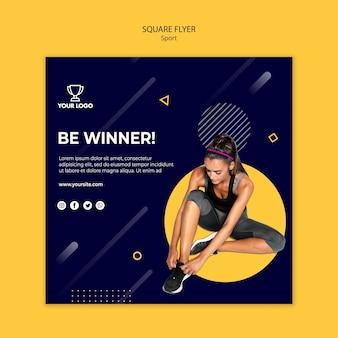 Modelo de folheto quadrado esporte com mulher