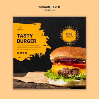 Modelo de folheto quadrado fast-food