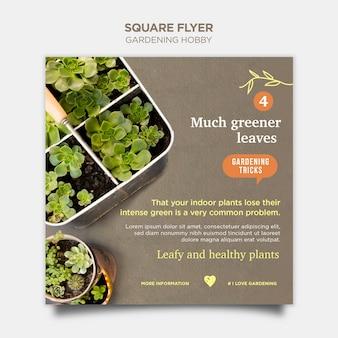 Modelo de folheto quadrado hobby de jardinagem