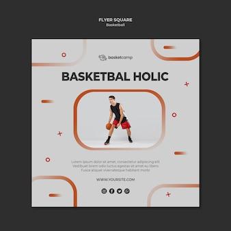 Modelo de folheto quadrado holic de basquete