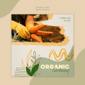 Modelo de folheto quadrado jardinagem orgânica com foto
