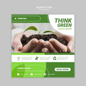 Modelo de folheto quadrado mãos segurando terra com planta