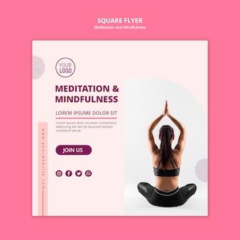 Modelo de folheto quadrado meditação e ioga