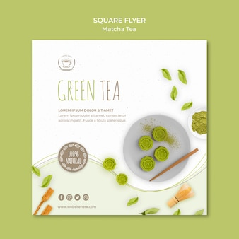 Modelo de folheto quadrado minimalista chá verde