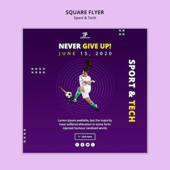 Modelo de folheto quadrado - nunca desista menina de futebol