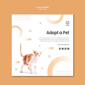Modelo de folheto quadrado para adotar um animal de estimação