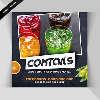 Modelo de folheto quadrado para bar de cocktails