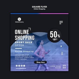 Modelo de folheto quadrado para compras on-line athleisure